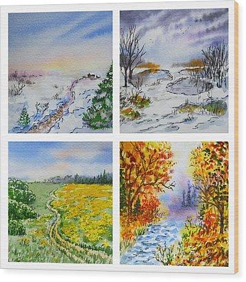 Colors Of Russia Four Seasons Wood Print by Irina Sztukowski