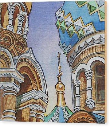 Colors Of Russia St Petersburg Cathedral II Wood Print by Irina Sztukowski