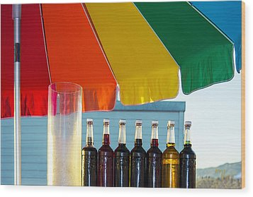 Colors Of Santa Monica Beach Wood Print by Ben and Raisa Gertsberg