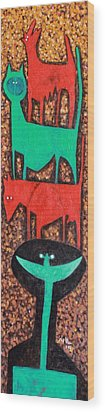 Colos Stacked Animals Turquoise Smile  Wood Print by Mark M  Mellon