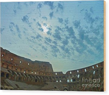 Wood Print featuring the photograph Colosseum At Dusk - Rome by Cheryl Del Toro