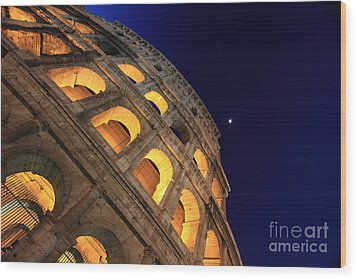 Colosseum At Night Wood Print by Stefano Senise