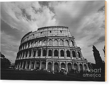 Colosseum In Black And White Wood Print by Samantha Higgs