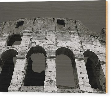 Colosseum Wood Print by Kathy Ponce
