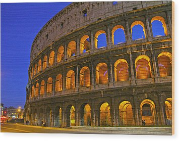 Colosseum Lights Wood Print