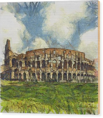 Colosseum Pencil Wood Print by Sophie McAulay