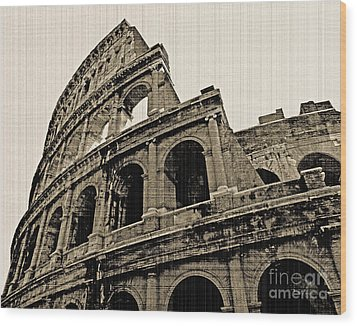 Wood Print featuring the photograph Colosseum Rome - Old Photo Effect by Cheryl Del Toro
