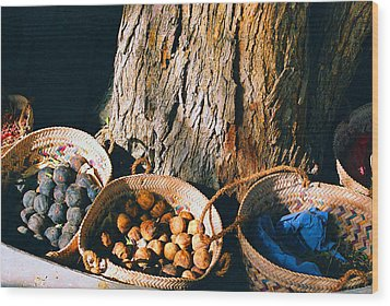 Wood Print featuring the photograph Coloured Baskets by Cassandra Buckley