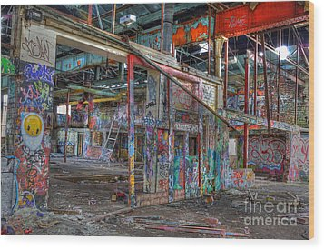 Coloured Dereliction Wood Print by David Birchall