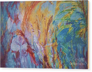 Colourful Abstract Wood Print by Ann Fellows