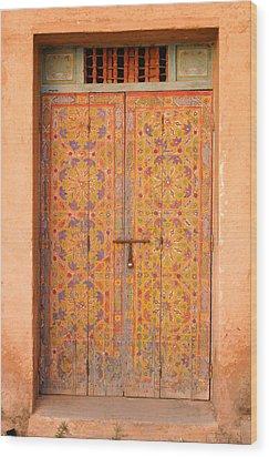 Colourful Entrance Door Sale Rabat Morocco Wood Print by Ralph A  Ledergerber-Photography