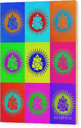 Colourful Ganesha Wood Print by Tim Gainey