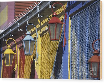 Colourful Lamps La Boca Buenos Aires Wood Print by James Brunker
