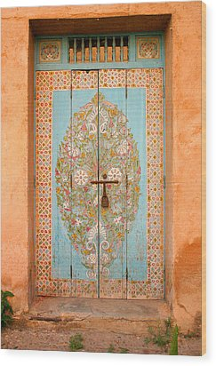 Colourful Moroccan Entrance Door Sale Rabat Morocco Wood Print by Ralph A  Ledergerber-Photography