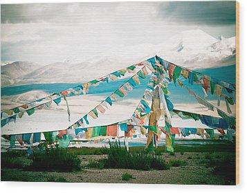 Colourfull Praying Buddhist Flags Lungta  Wood Print by Raimond Klavins