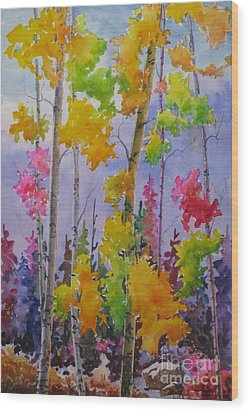 Colours Of Fall Wood Print by Mohamed Hirji