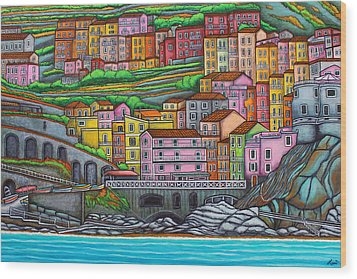 Colours Of Manarola Wood Print by Lisa  Lorenz