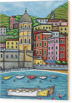 Colours Of Vernazza Wood Print by Lisa  Lorenz