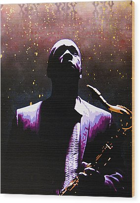 Coltrane II - Coltrane Harder Wood Print by Bobby Zeik