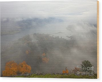 Columbia River Hidden Wood Print by Mike  Dawson