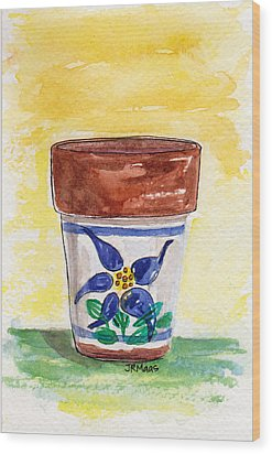 Wood Print featuring the pastel Columbine Container by Julie Maas