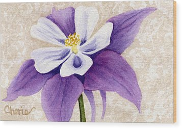 Columbine In Violet Wood Print by Vikki Wicks