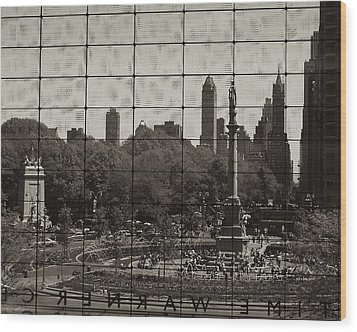 Columbus Circle Through The Time Warner Glass Window Wood Print by John Colley