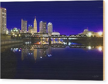 Columbus - City Reflection Wood Print by Shane Psaltis
