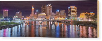 Columbus Skyline At Night Color Panorama Ohio Wood Print by Jon Holiday