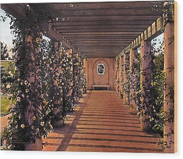 Columns And Flowers 2 Wood Print by Terry Reynoldson