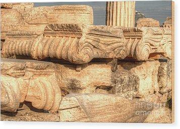Columns Of The Parthenon Wood Print by Deborah Smolinske