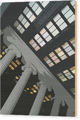 Columns Wood Print by Julio Lopez