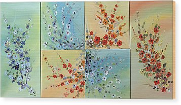 Wood Print featuring the painting Combo Flowers by Dorothy Maier