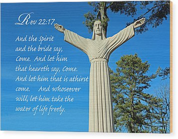 Come To Jesus Wood Print