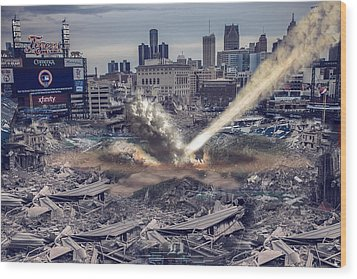 Wood Print featuring the photograph Comerica Park Asteroid by Nicholas  Grunas