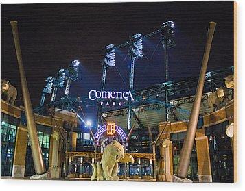Comerica Park At Night  Wood Print by John McGraw