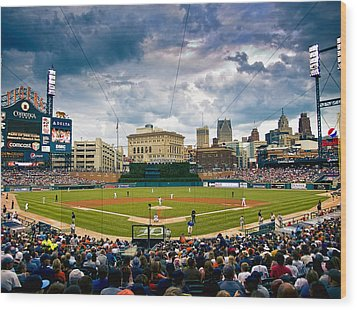 Comerica Park Wood Print by Cindy Lindow