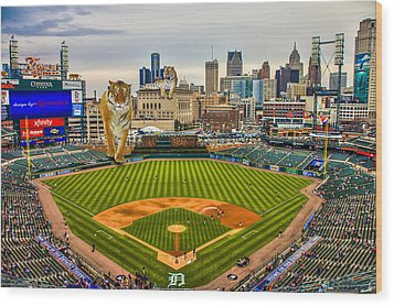Wood Print featuring the photograph Comerica Park Detroit Mi With The Tigers by Nicholas  Grunas