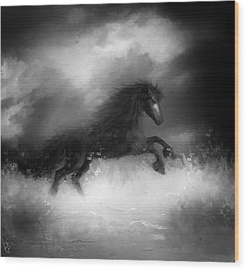 Comes A Dark Horse Wood Print by Hazel Billingsley
