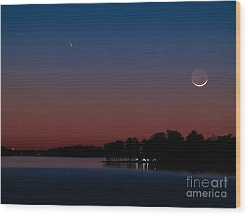 Comet Panstarrs And Crescent Moon Wood Print by Charles Hite