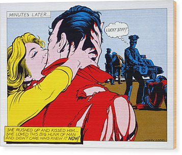 Comic Strip Kiss Wood Print by MGL Studio