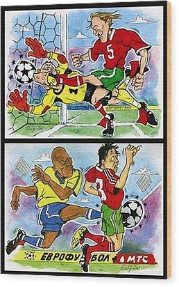 Comics About Eurofootball. First Page. Wood Print by Vitaliy Shcherbak