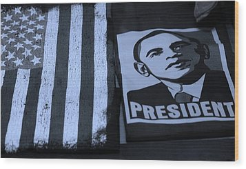 Commercialization Of The President Of The United States In Cyan Wood Print by Rob Hans