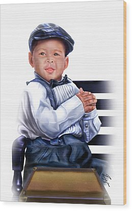 Commissioned - Handsome Baby Boy 1a Wood Print by Reggie Duffie