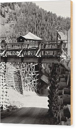 Wood Print featuring the photograph Commodore Ore Bins by Lana Trussell