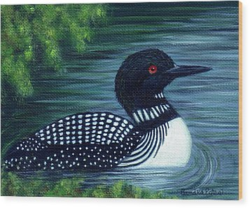 Common Loon Wood Print by Sandra Estes