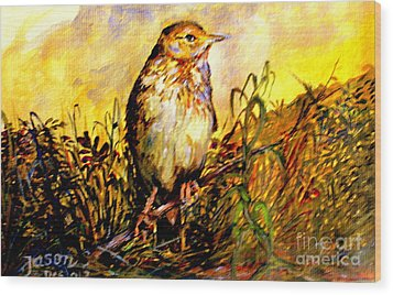 Wood Print featuring the painting Common Pipit by Jason Sentuf
