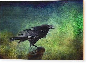 Common Raven Wood Print by Barbara Manis