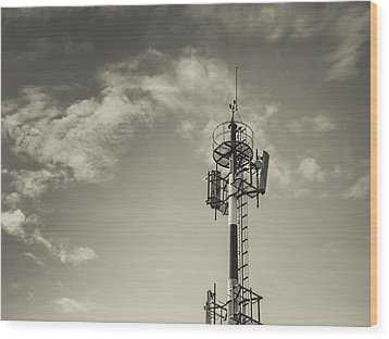 Communication Tower Wood Print by Marco Oliveira