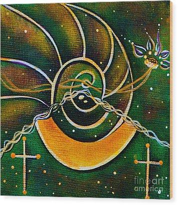 Wood Print featuring the painting Communicator Spirit Eye by Deborha Kerr